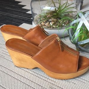 Via Spiga Wooden Leather Platform Wedge Slip On